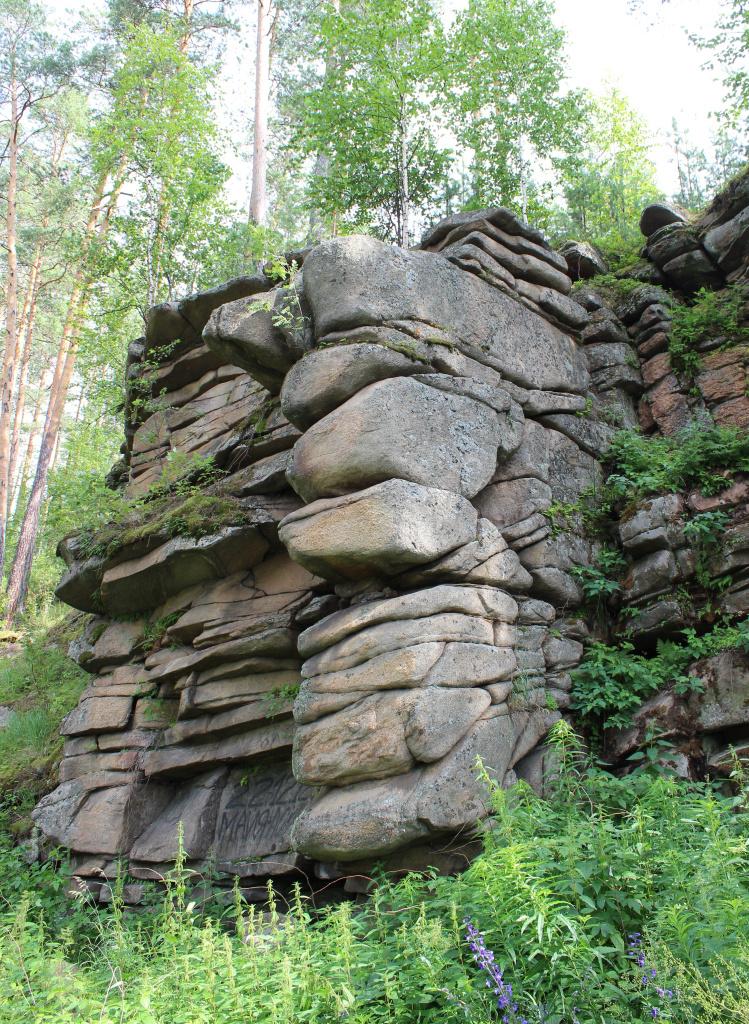 Скала чуть ниже по течению скал с писаницами: правый берег реки Реж