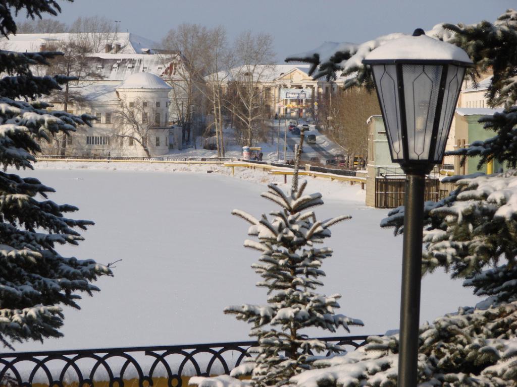 Зима. Вид на Господский дом с правого берега пруда