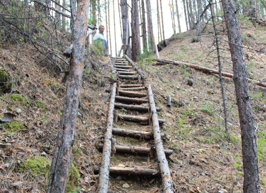 Поход: загадки Першинского карьера: в Першинском карьере - лестничный спуск