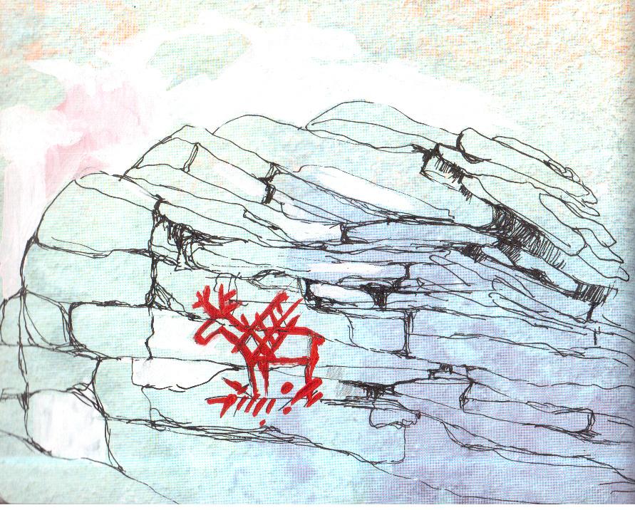 «Лось, попавший в сети» — самый известный рисунок, оставленный древним человеком на поверхности Шайтан камня. Иллюстрация Т. Г. Бабиной