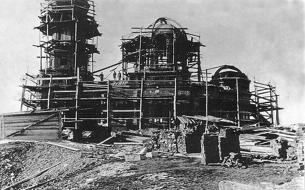 Строительство каменного храма Иоанна Предтечи в Реже на Орловой горе